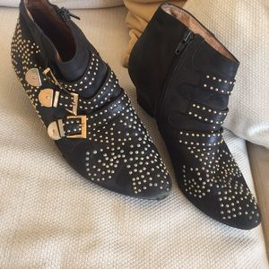 Gold studded Jeffery Campbell booties